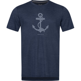 super.natural Graphic Camiseta Hombre, blue iris melange/light grey anchor